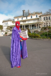 Spiderman delivering newspapers- Winter Magic 2013- low res