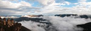 fog swirls in the valley
