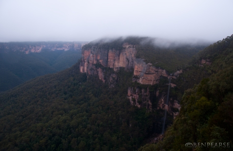 bridal veil falls on sunrise