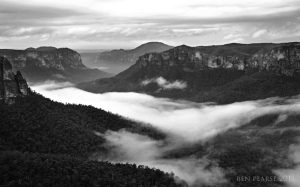 grose valley in B&W