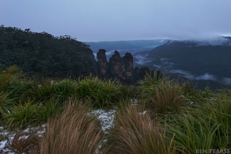Three sisters on sunrise with a little snow