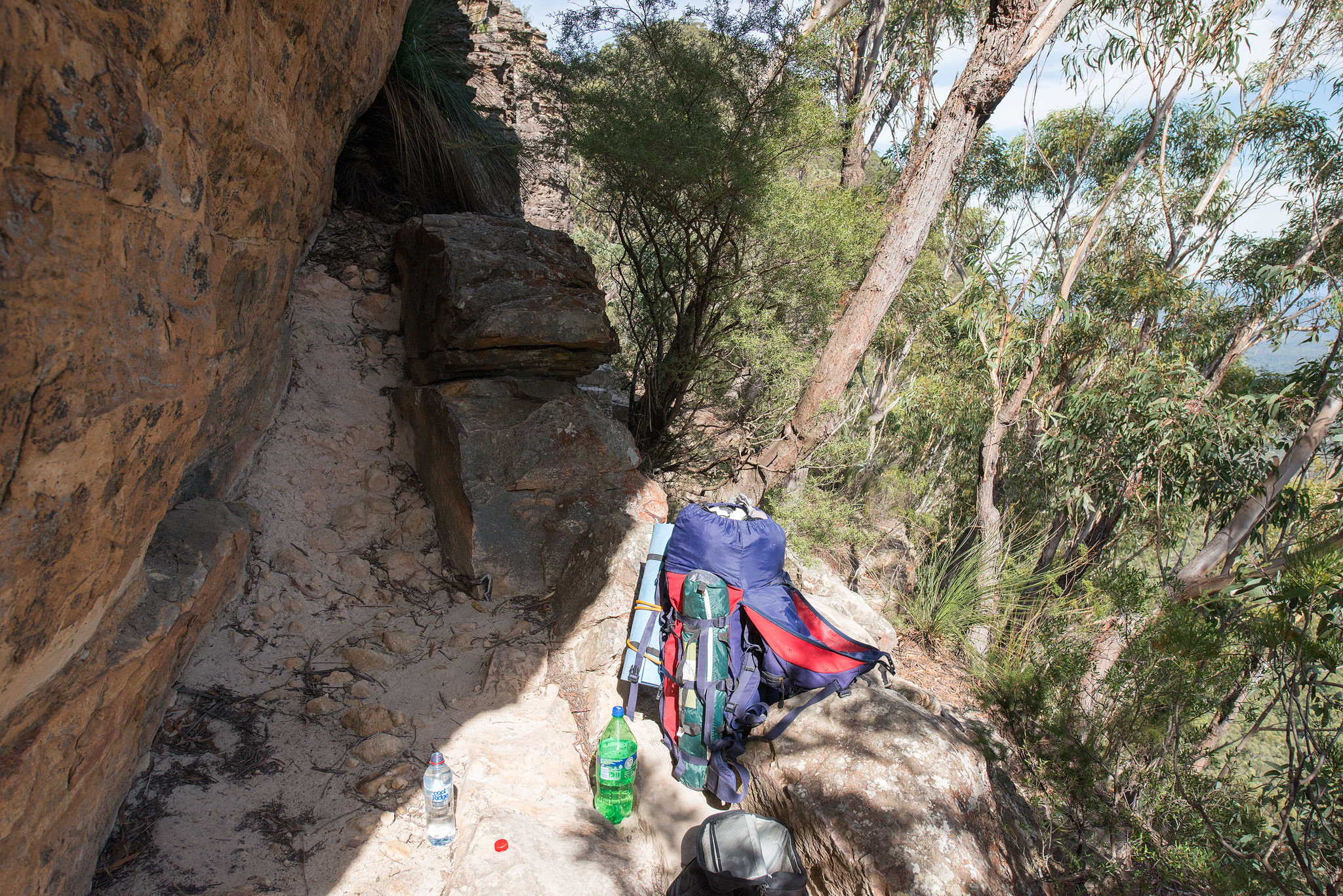 Finding shady spot on the climb
