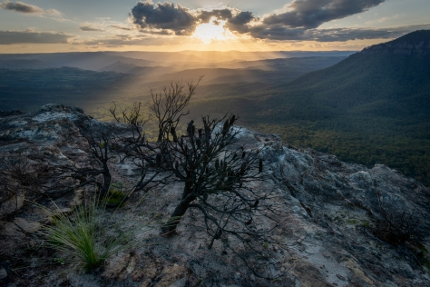 Looking west over megalong valley on sunset